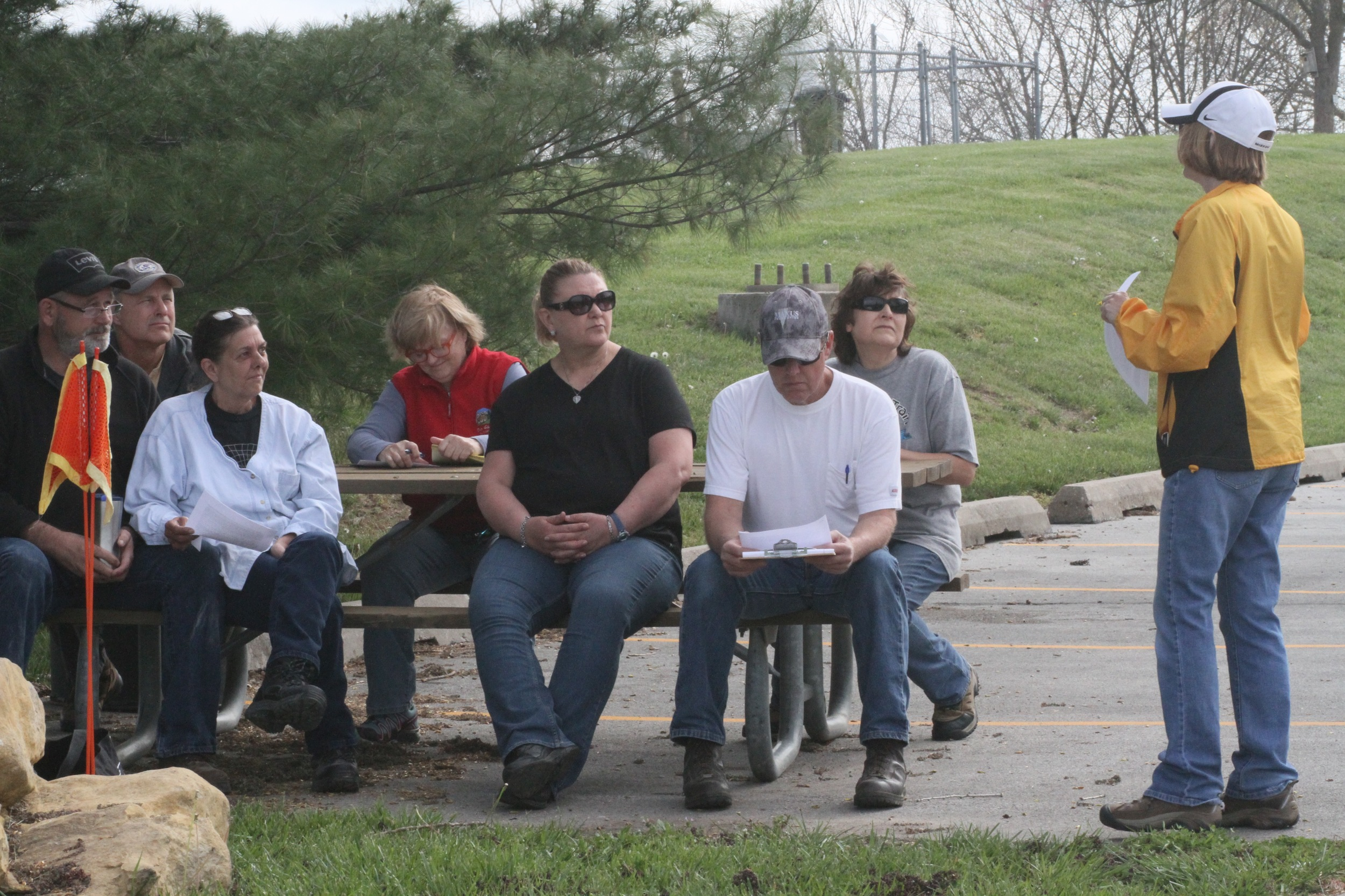 Sally goes over her notes as she explains the finer points of tracklaying to seminar participants.