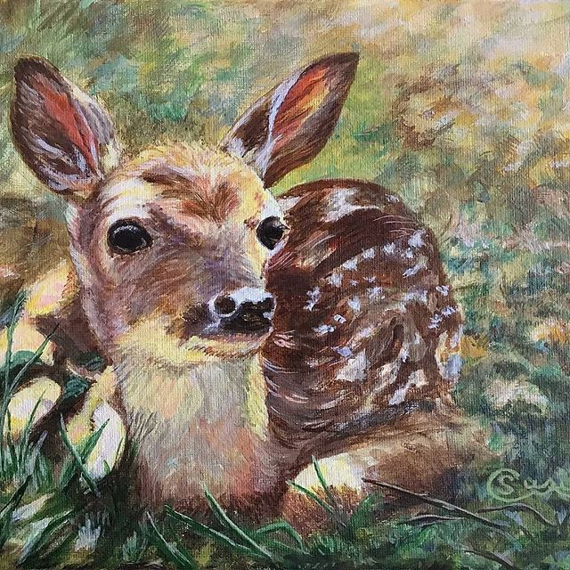 """🎨 An acrylic piece from artist @susiecarontwee—""""Sunlit Fawn."""" — Creative? Share your work with #sacavt. We always repost with credit 😌"""