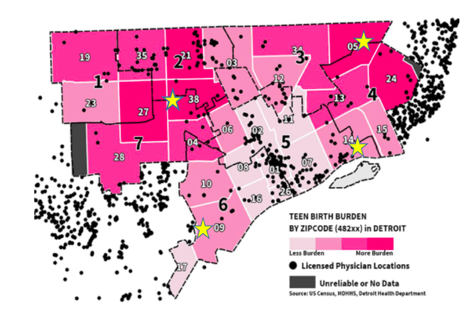 The black dots on this map indicate the locations of licensed physicians. While there are a good number of doctor's offices in Wayne County, the distribution of these offices is skewed with a higher concentration of offices in Dearborn and Grosse Pointe than in the City of Detroit itself. This image was a part of a larger presentation given by former Detroit Health Department Director and now Candidate for Governor of Michigan, Abdul El-Sayed. In case you were wondering, the yellow stars indicate pop-up clinics planned by the City of Detroit Health Department to distribute contraceptives.