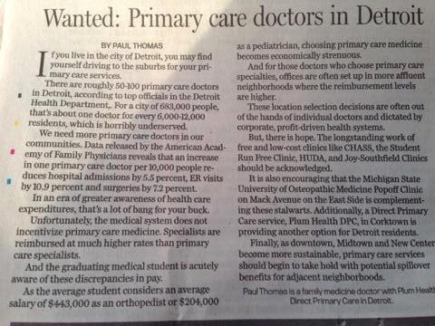 A newspaper clipping from this Sunday's Detroit News about health care and health disparities in the city of Detroit and the potential solutions to address them.