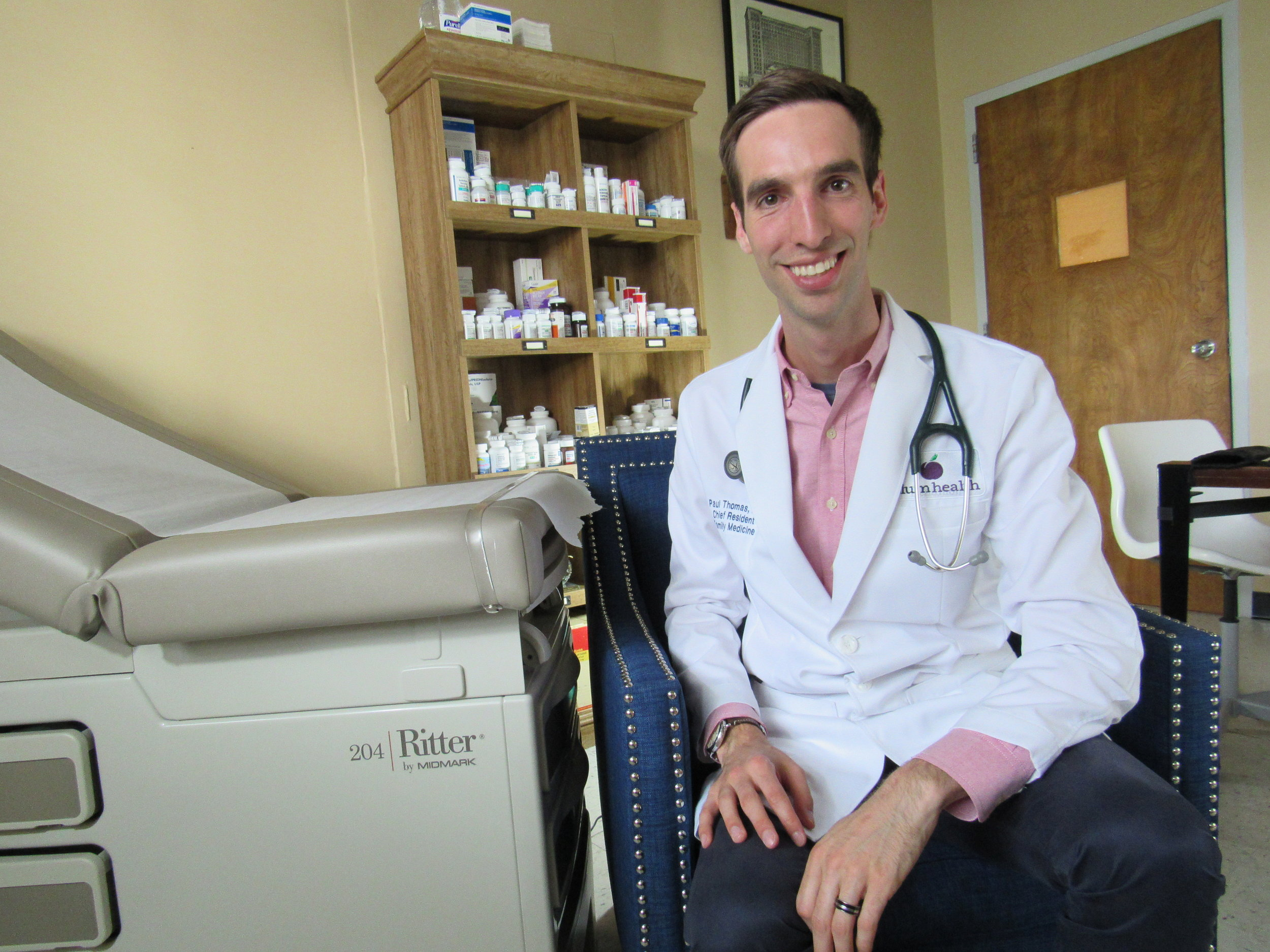 Dr. Paul Thomas of Plum Health DPC, in the Plum Health office!