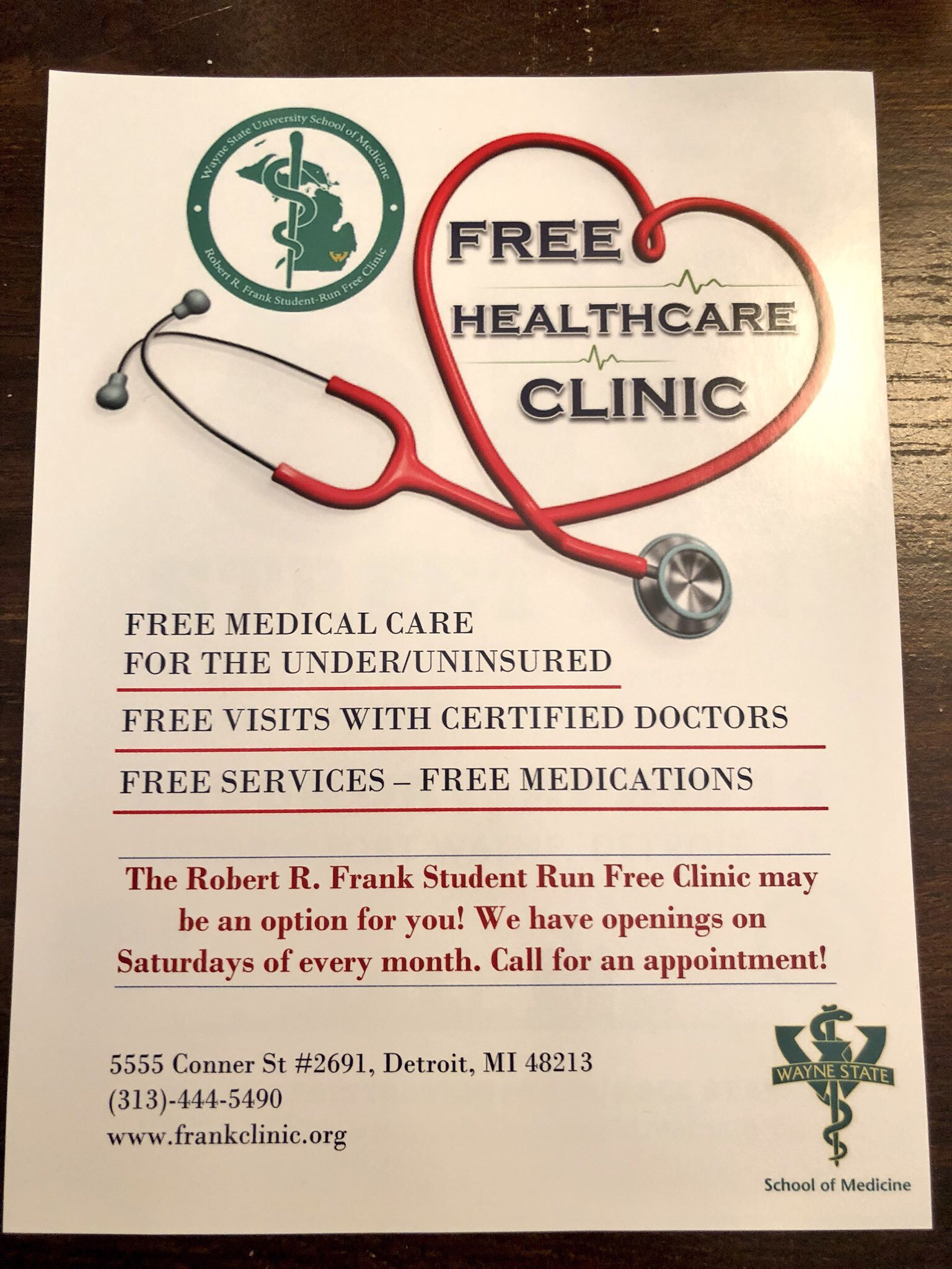 2018 Student Run Free Clinic Detroit Michigan Wayne State University School of Medicine flyer.jpg