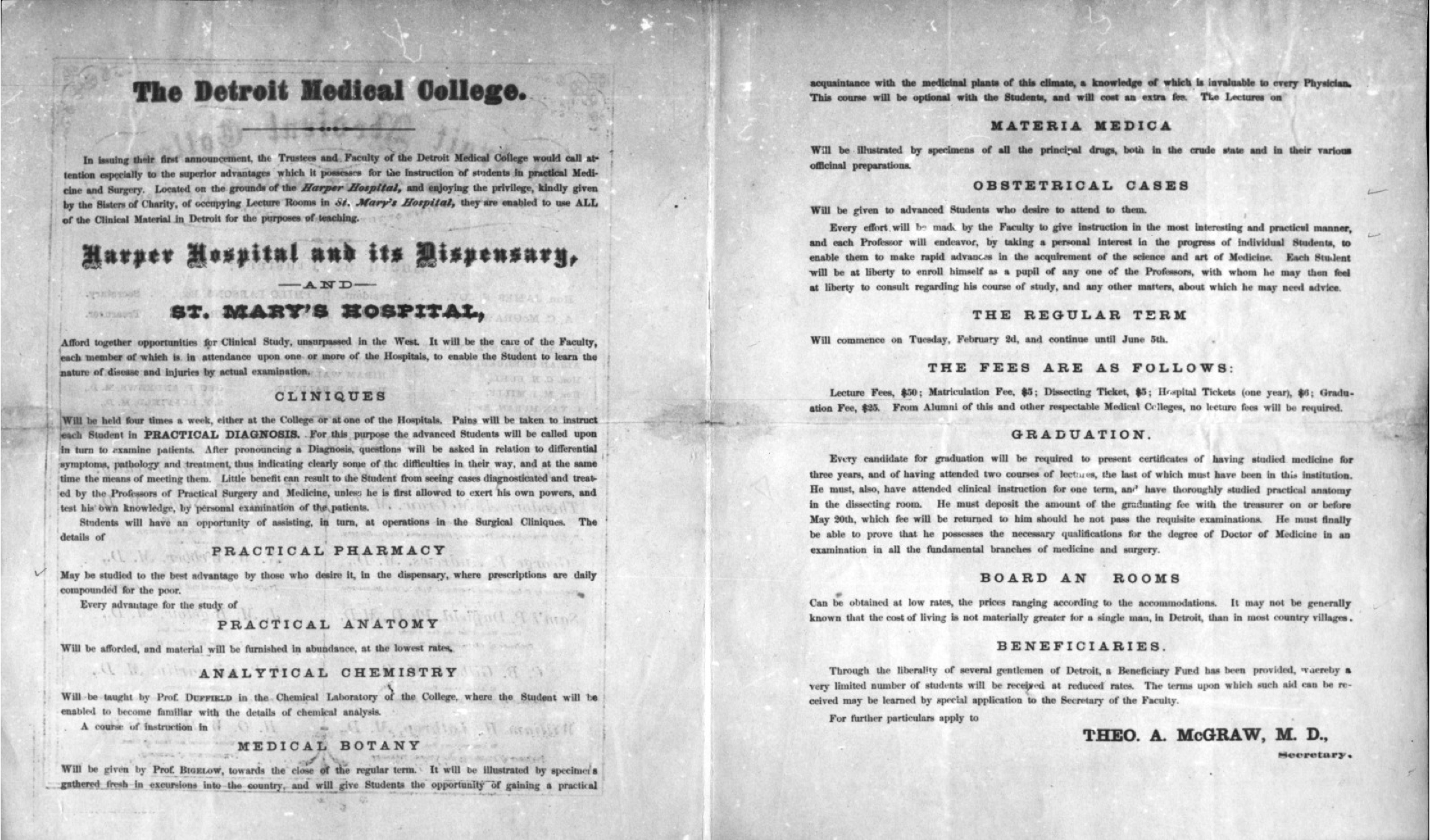 The Detroit College of Medicine charter from 1868, signed by founding physician Thodore A. McGraw, MD. The charter puts forth the founding principles of the institution.