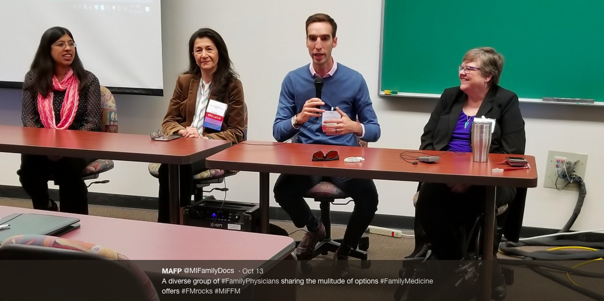 Dr. Paul Thomas of Plum Health DPC speaks at the Michigan Future of Family Medicine Conference 2018 Panel on Career Options, taken from the Michigan Academy of Family Physicians' (MAFP) twitter account, here: https://twitter.com/MIFamilyDocs/status/1051106817705725953