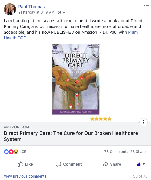 We've been getting a ton of support on Social Media, like our Facebook post. Follow us on Facebook, here: https://www.facebook.com/PlumHealthDPC/