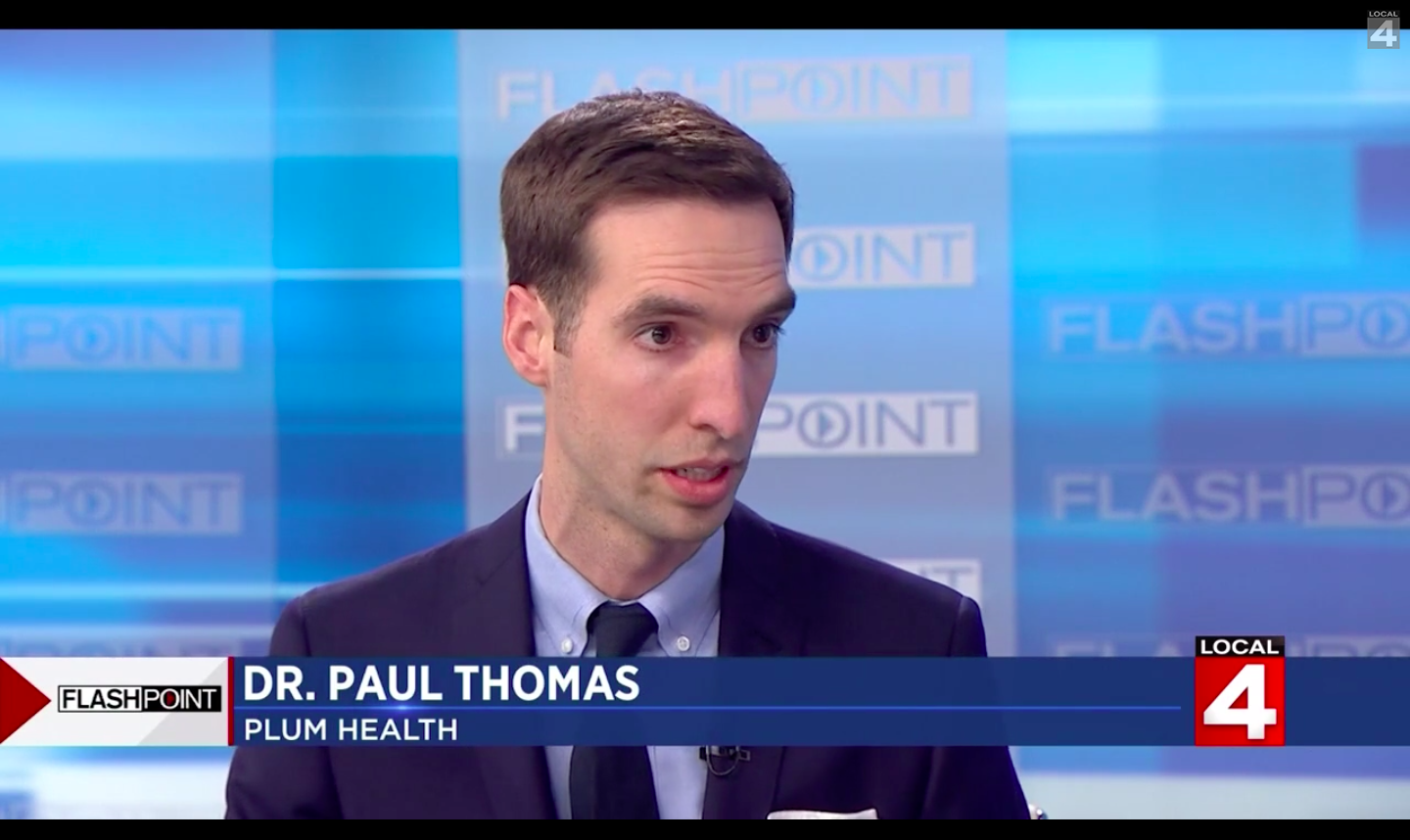 Paul Thomas MD of Plum Health DPC on Flashpoint with Devin Scillian and Dr. Frank McGeorge of WDIV Channel 4 in Detroit, Michigan, discussing Direct Primary Care.