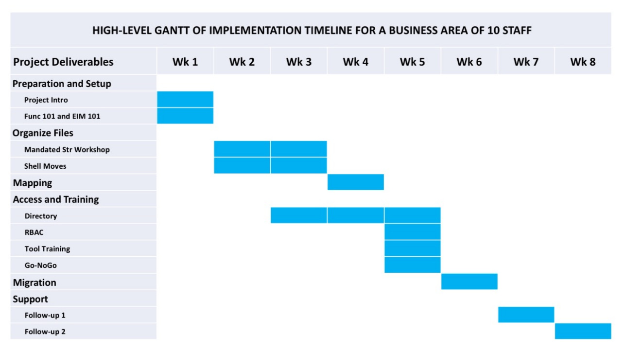 High-Level Gantt of Migration Project for a Business Team of 10 Employees
