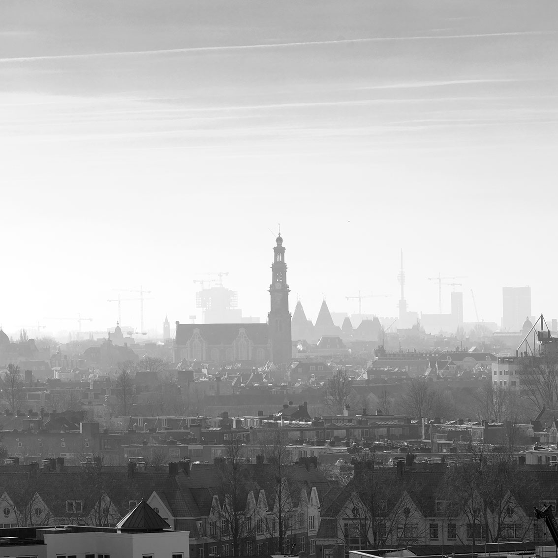 zicht op de Westertoren, Amsterdam