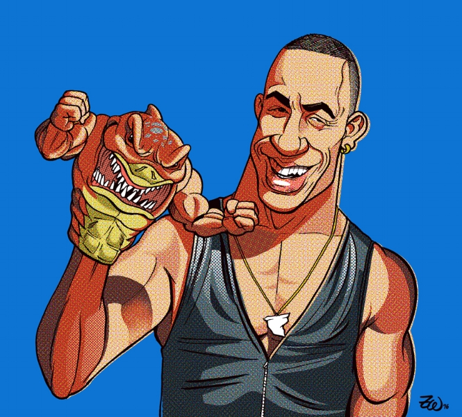 """HAND SHARK!    Ink & digital, 12"""" x 12"""" giclee print coated in wax. 27 year old Vin Diesel   as he presented at the Street Sharks table at the New York Toy Fair in 1994.   Super limited edition of only 12! Purchase #1, matted and framed   here  , or buy it unframed   here  !"""