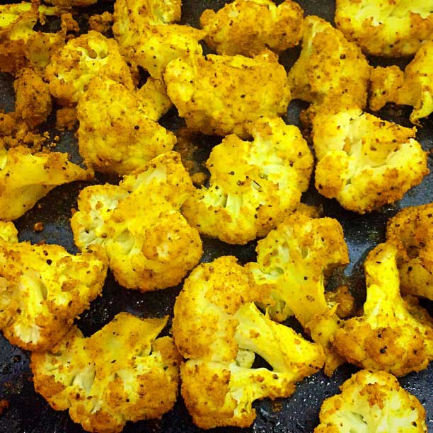 Fresh out of the oven! Baked cauliflower with turmeric and cumin