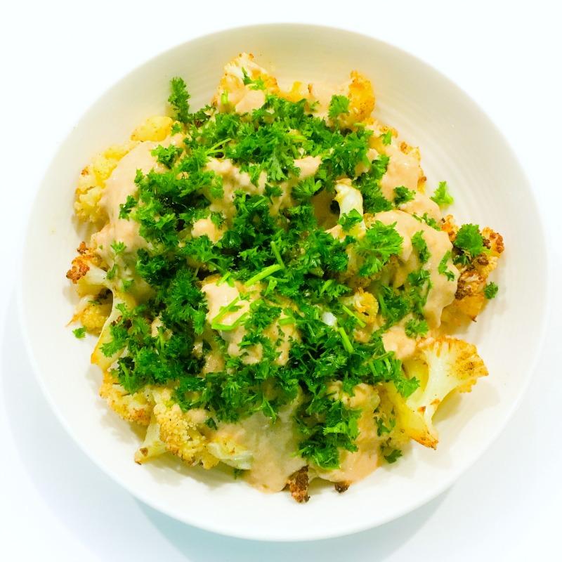 Roast Cauliflower with lemon, garlic and tahini sauce