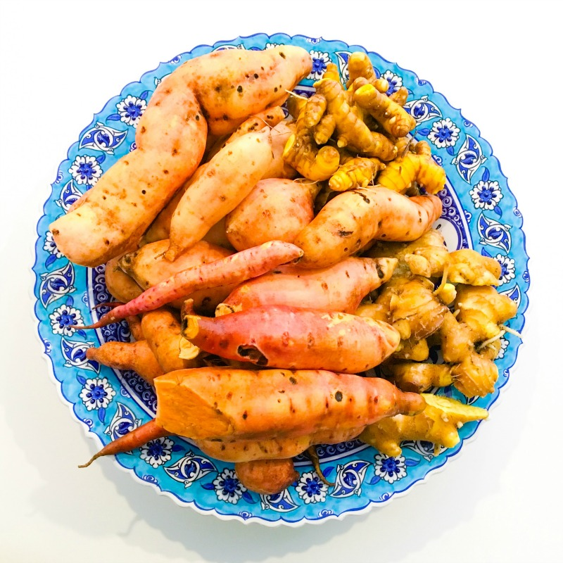 Sweet potato and turmeric fresh from the garden!