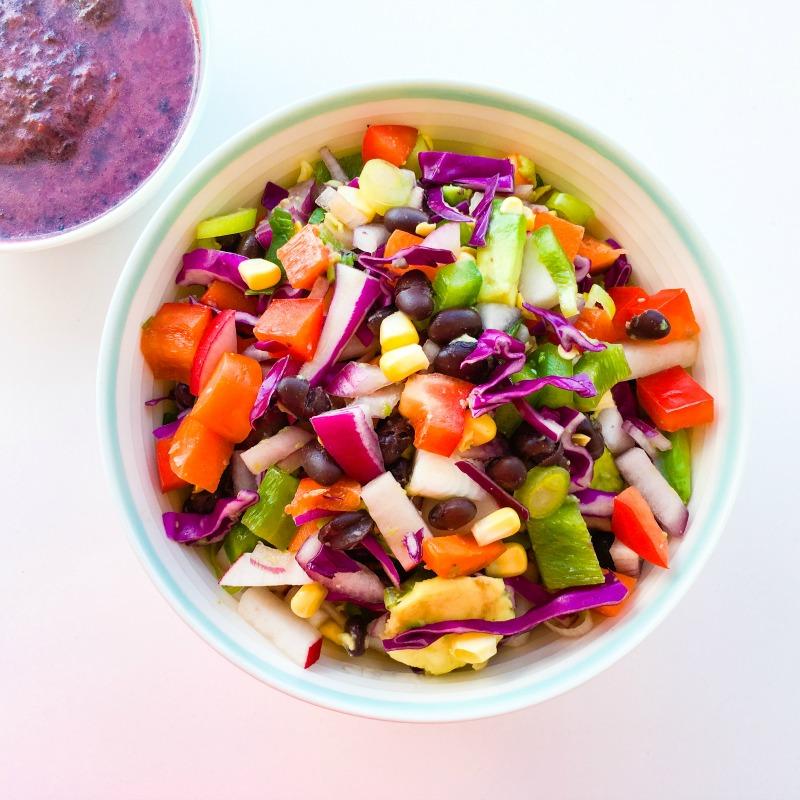 Rainbow Salad with Lemon Blueberry Dressing