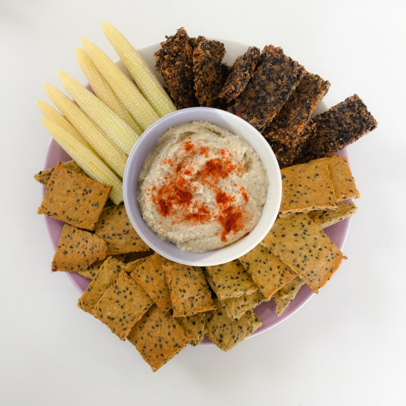 Baba Ghanoush and healthy crackers