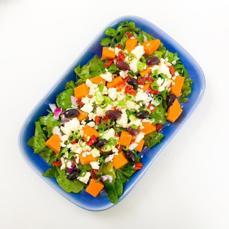 Roast Pumpkin Salad with Sun-Dried Tomatoes and Fetta