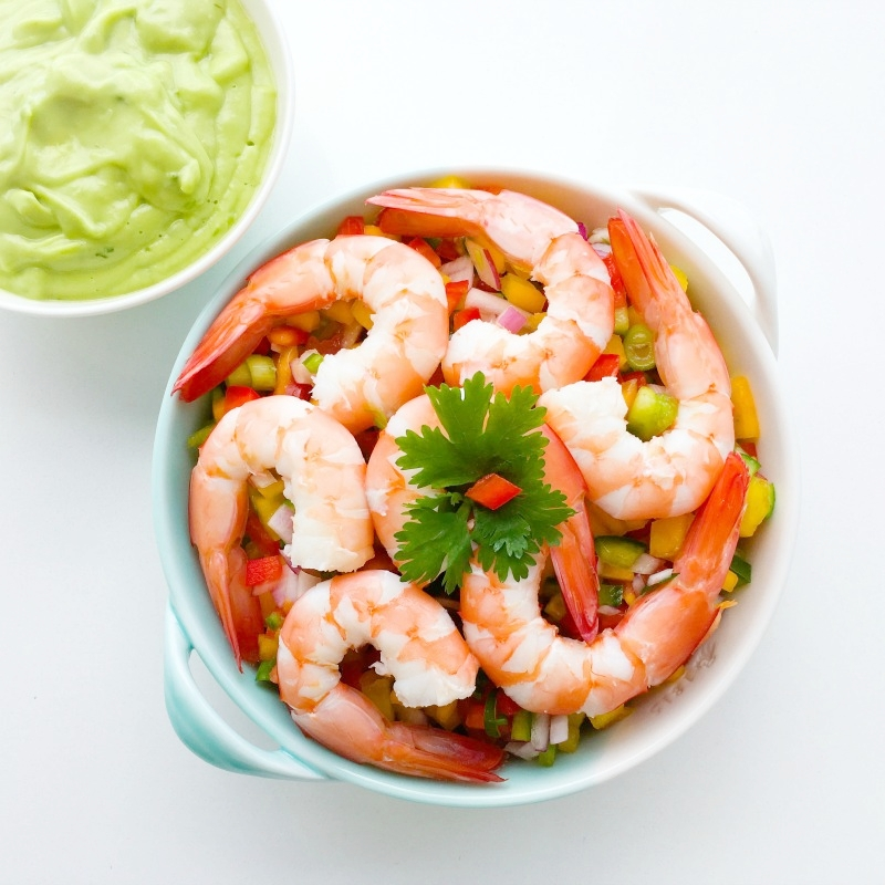 Prawns with Spicy Papaya Salsa