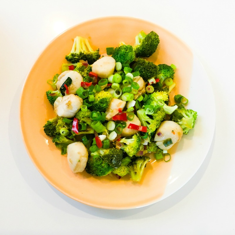 Scallops and Broccoli with Ginger, Chilli, Garlic and Shallots