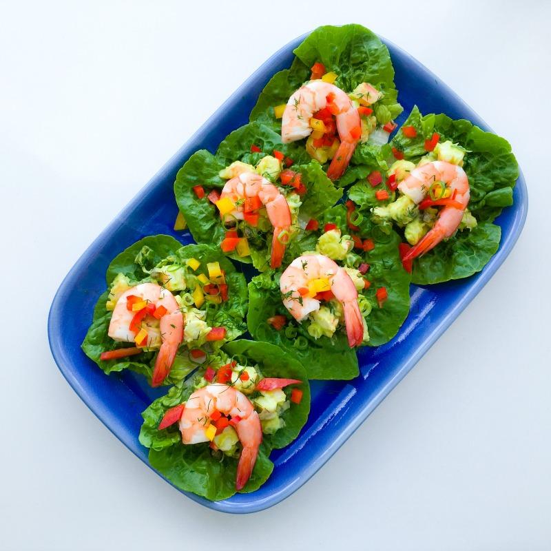 Prawn and avocado lettuce wraps