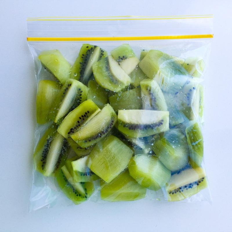 Peeled, chopped Kiwifruit, ready for freezing