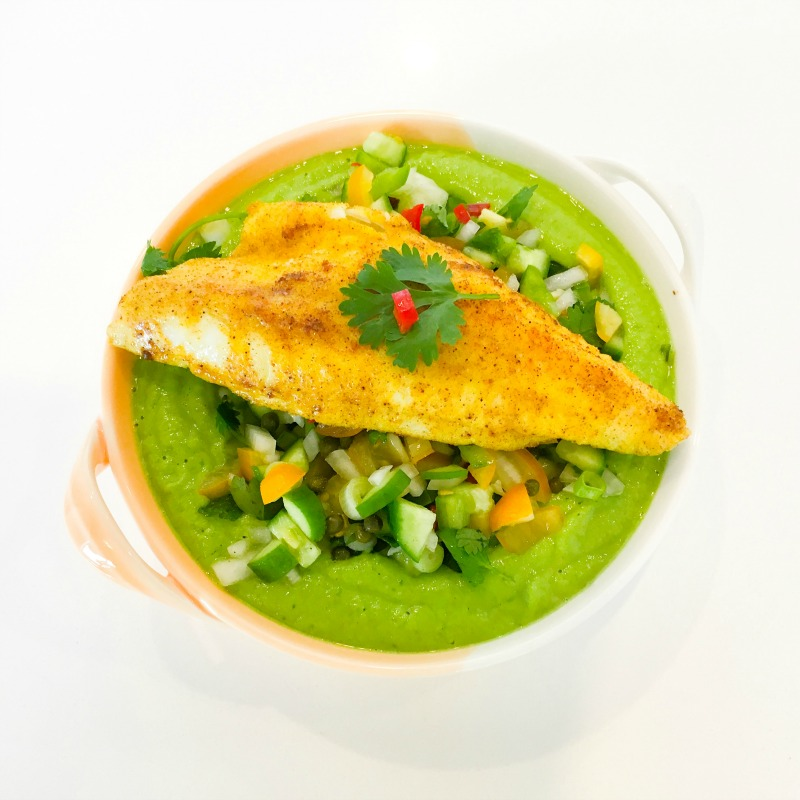Spicy Fish with Green Gazpacho