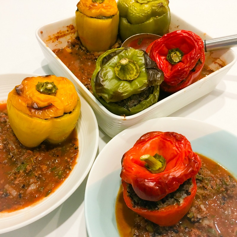 Capsicums Stuffed with Lamb, Rice & Lentils