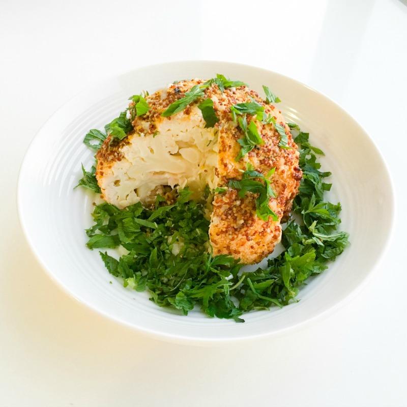 Whole Cauliflower Roasted in Lemon, Mustard and Garlic