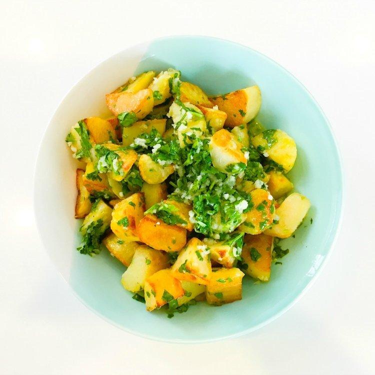 Roasted Potatoes with Lemon, Garlic & Coriander