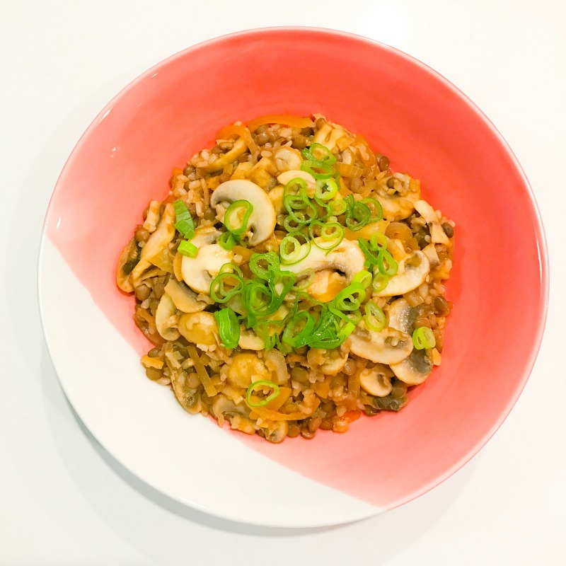 Magical Miso Mushrooms with Brown Rice & Lentils