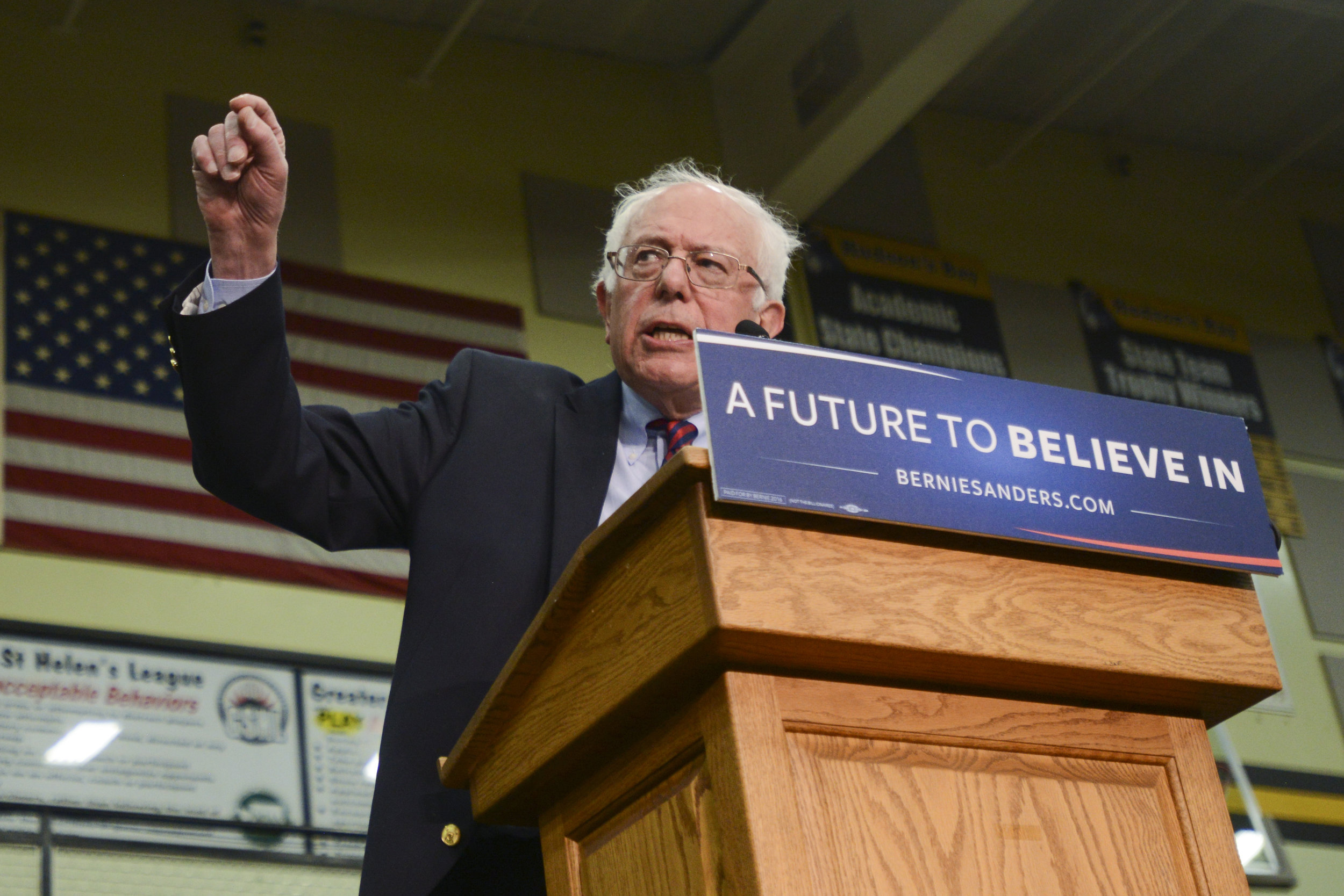 Democratic candidate, Bernie Sanders, spoke in Vancouver March 20, 2016, to nearly 5,000 people at Hudson's Bay High School. (Ariane Kunze/The Columbian)