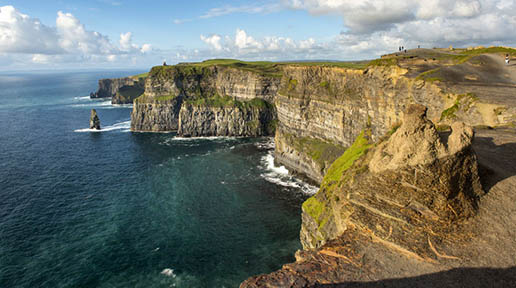 Cliffs of Moher, County Clare   The cliffs stand at 214 meters at their highest point and stretch for 8 miles. These amazing views must not be missed if you visit Galway.  See the  Cliffs of Moher  site for more details.