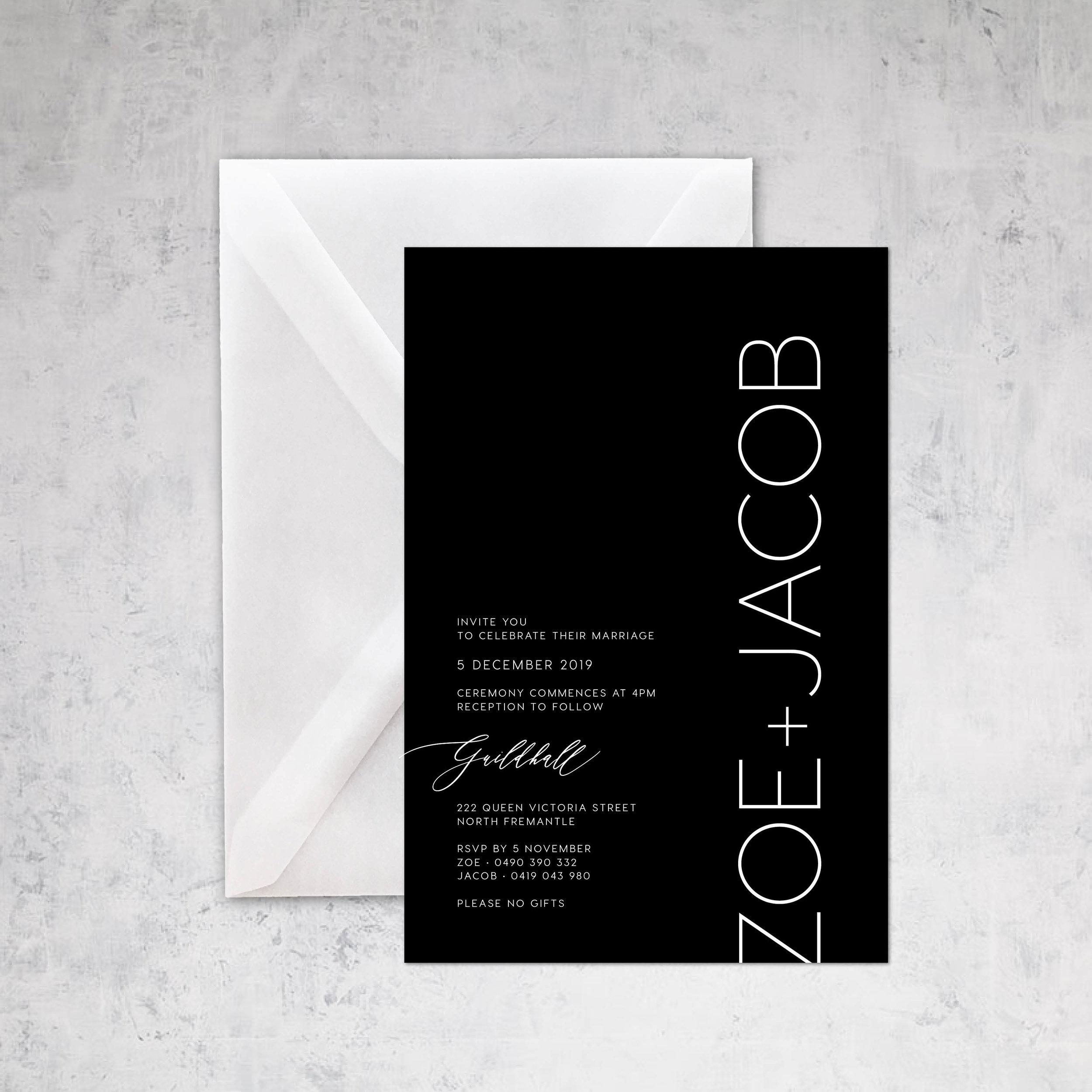 Invitation design Zoe + Jacob