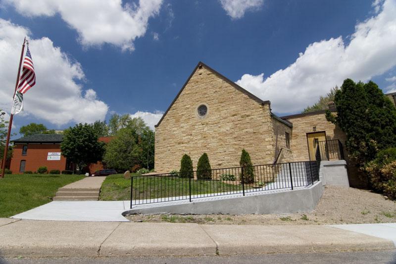 Concrete steps, sidewalk, Saint Paul, Woodbury, MN, church,M. F. Fleischhacker