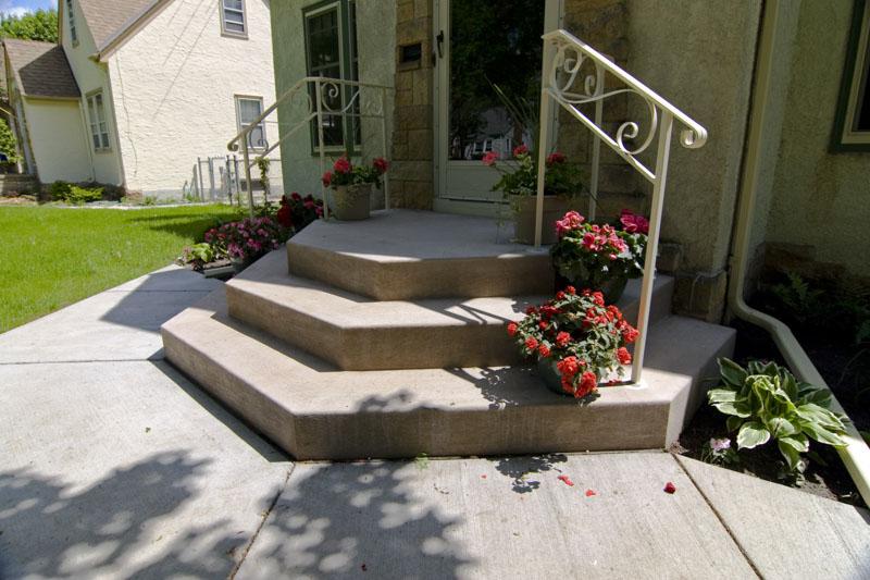 Concrete steps, sidewalk, colored concrete,Saint Paul, Woodbury, MN, M. F. Fleischhacker