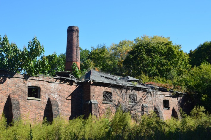 "Another view of the smokestacks. Krawchuck called North Brother Island essentially a ""free-standing city"" complete with a morgue, public school, and tennis courts.Photo: Jen Kirby/New York Magazine"