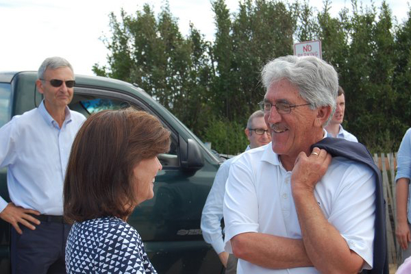 New York State Lieutenant Governor Kathy Hochul speaking with East Hampton Town Supervisor Larry Cantwell JON WINKLER