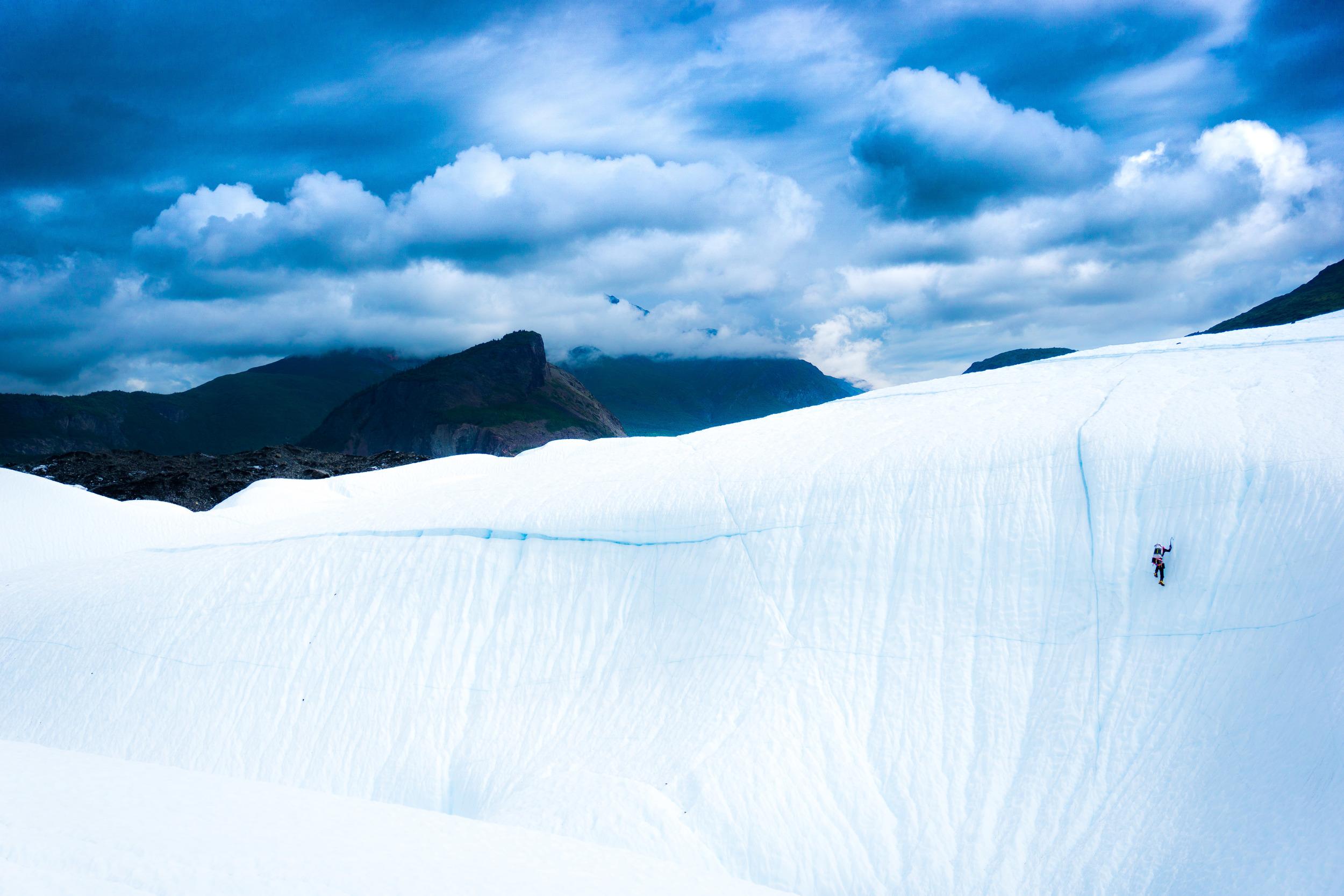 """""""White Raven"""" on the Matanuska Glacier."""
