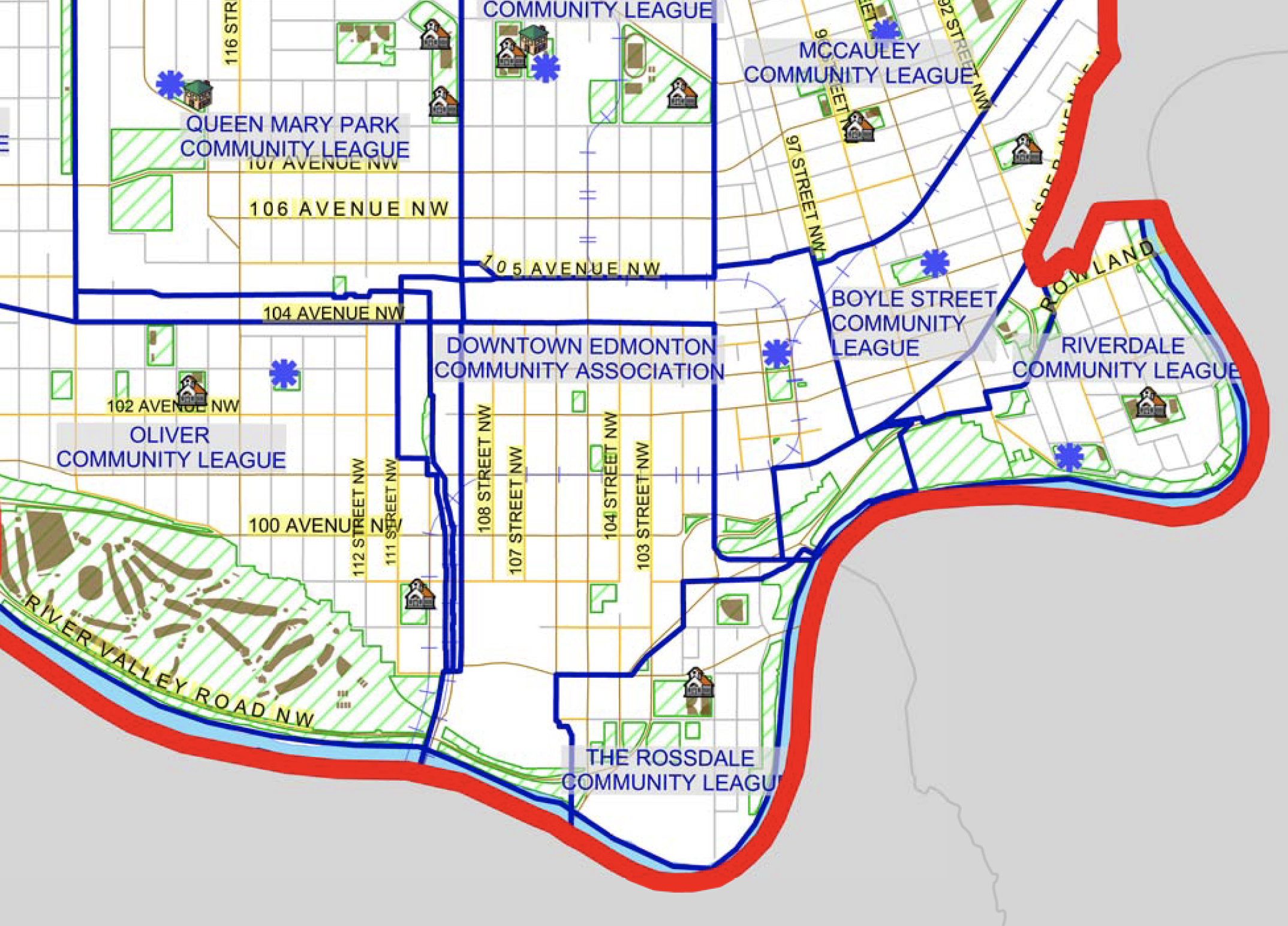 - Rossdale Community League boundaryNot sure which community league you should join? Click this Edmonton community league boundary map to find out.