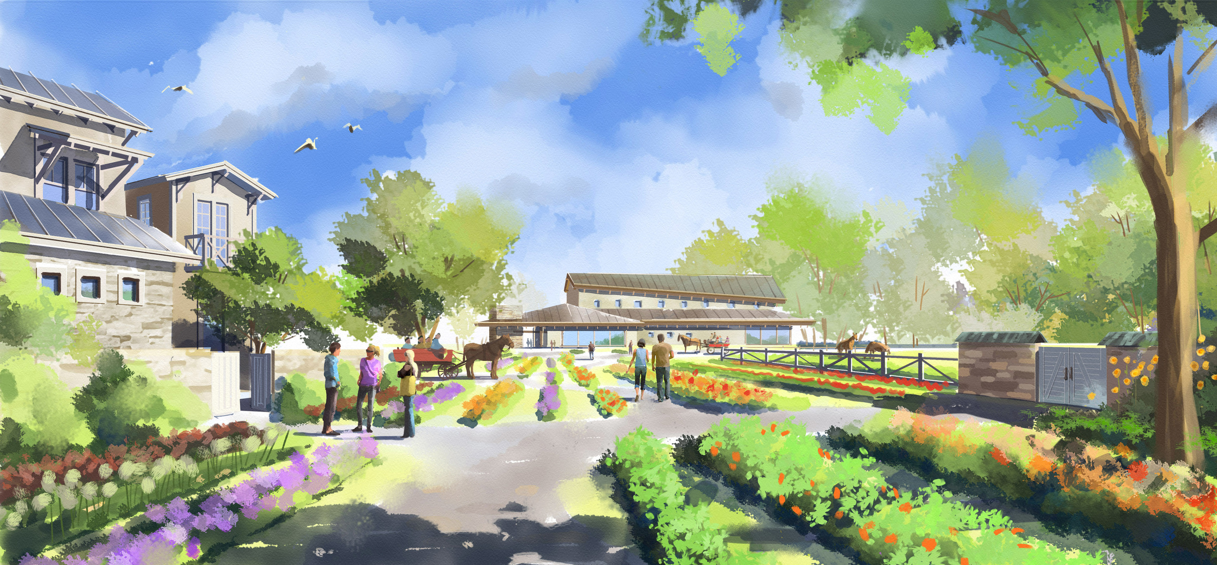Digital Watercolor of Eco-Agricultural Resort in China