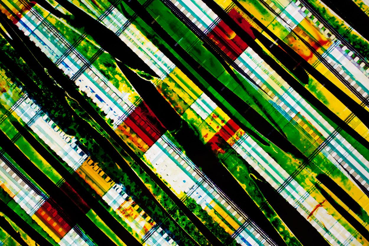 X (Detail).   35mm Celluloid Film,  Fluorescent Lights, Plexiglas,  Custom Lightbox. 40  x40  x6.Richard Kerr. 2014. (Detail).