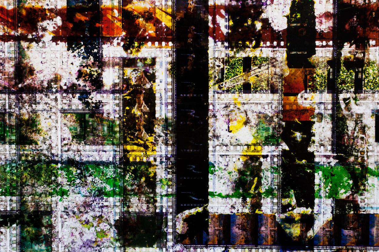 Untitled.  35mm Celluloid Film,  Fluorescent Lights, Plexiglas,  Custom Lightbox. 40  x40  x6.Richard Kerr. 2014. (Detail).