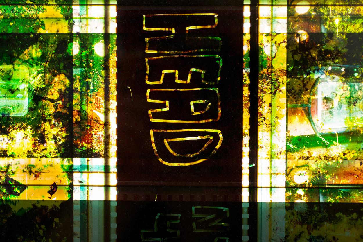 HEAD.  65mm IMAX Celluloid Film,Fluorescent Lights, Plexiglas,Custom Lightbox. 40x40x6.Richard Kerr. 2014. (Detail).