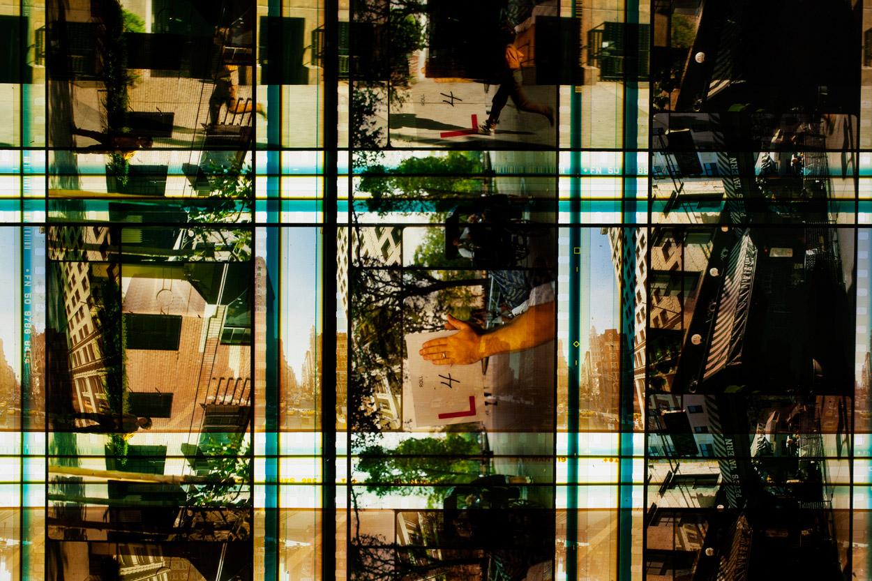Flatiron District .65  mm IMAX Celluloid Film,Fluorescent Lights, Plexiglas,Custom Lightbox. 40x40x6.Richard Kerr. 2014. (Detail).