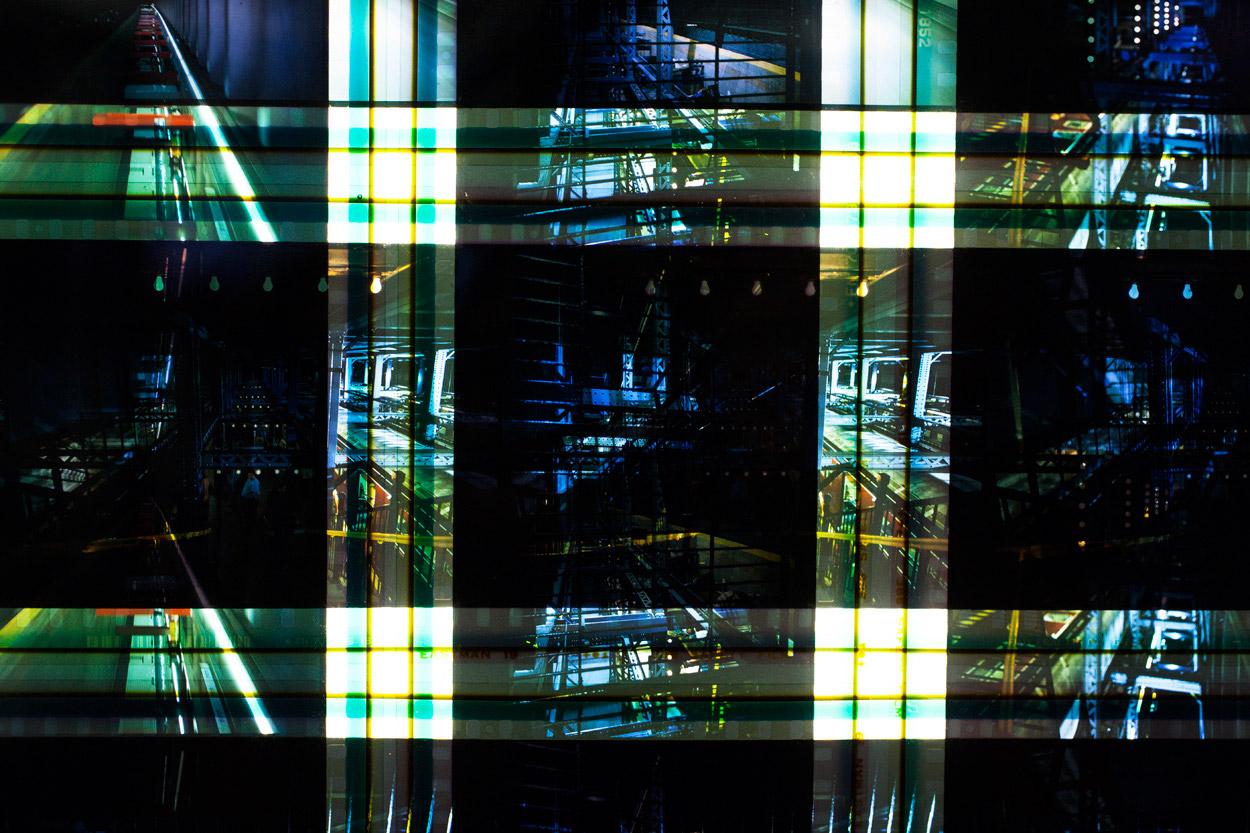 Uptown & The Bronx (Subway). 65  mm IMAX Celluloid Film,Fluorescent Lights, Plexiglas,Custom Lightbox.52x26x6.Richard Kerr. 2014. (Detail).