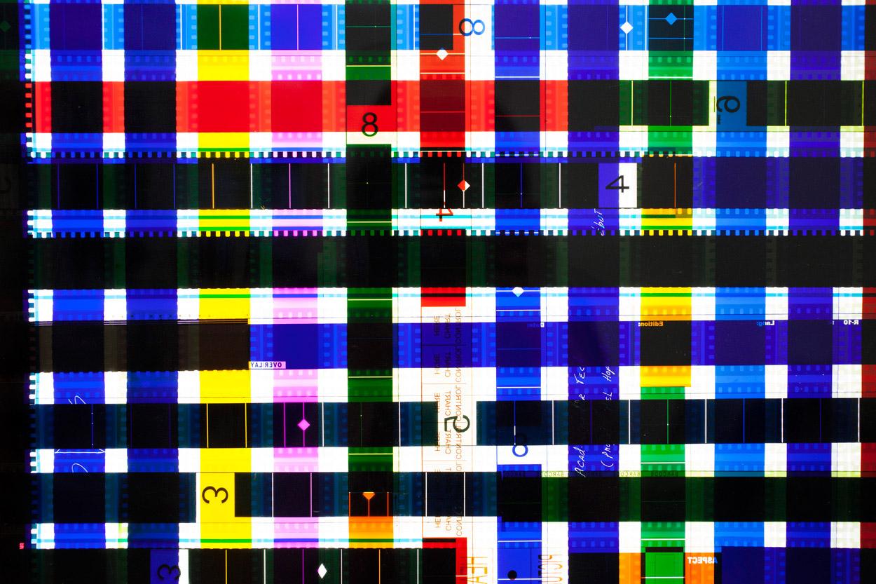 Chart Control (Blue) .    35mm Celluloid Film,  Fluorescent Lights, Plexiglas,  Custom Lightbox.52x26x6.Richard Kerr. 2014. (Detail).