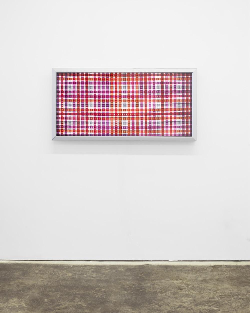 Mosaic (Red). 35mm Celluloid Film,Fluorescent Lights, Plexiglas,Custom Lightbox.52x26x6.Richard Kerr. 2014.