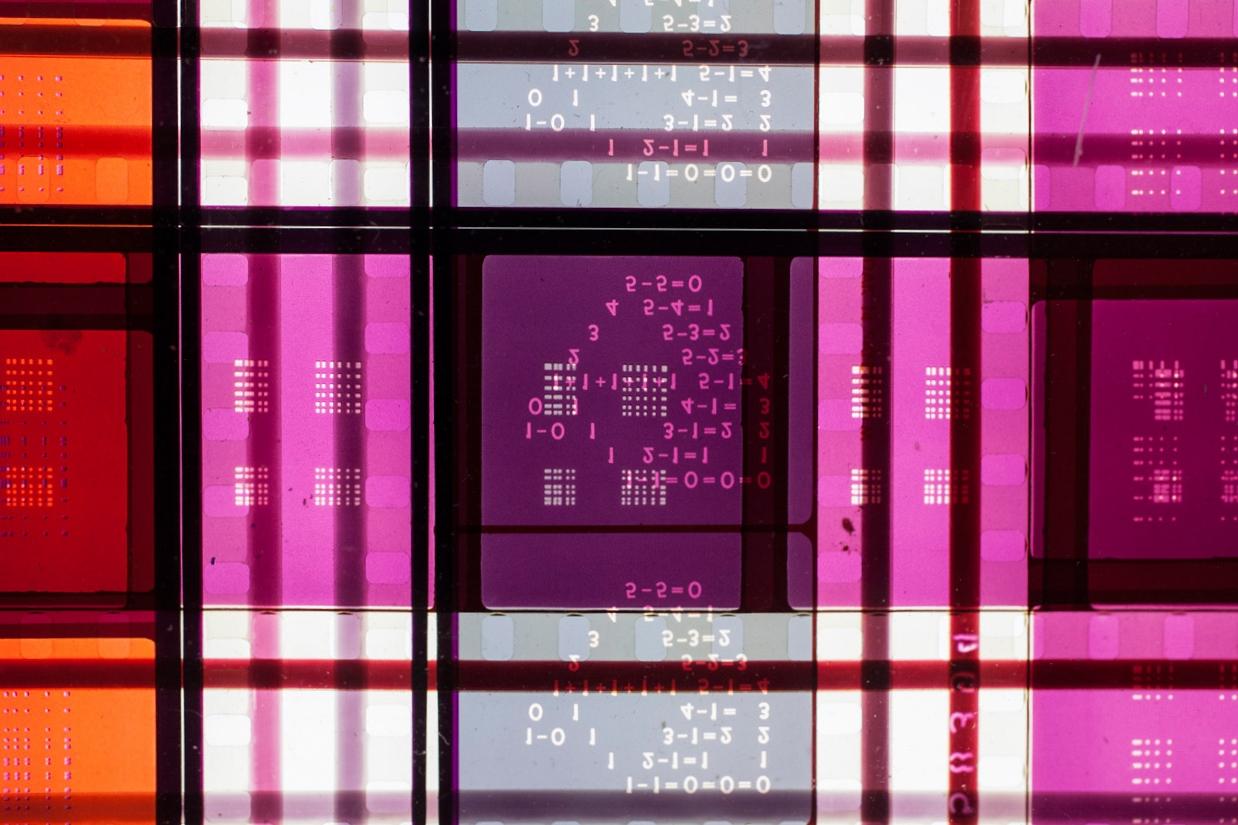 Rhythmic Three  .  35mm Celluloid Film,  Fluorescent Lights, Plexiglas,  Custom Lightbox.52x26x6.Richard Kerr. 2014. (Detail).