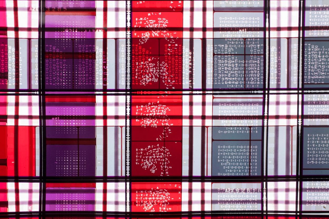 Rhythmic Two  .  35mm Celluloid Film,  Fluorescent Lights, Plexiglas,  Custom Lightbox.52x26x6.Richard Kerr. 2014. (Detail).