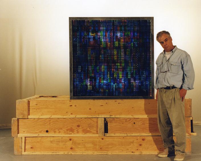 Plein Air.   16mm Celluloid Film, Fluorescent Lights, Glass, Custom Lightbox. 48x48 Richard Kerr. 1998.  *Collected by Mackenzie Art Gallery.