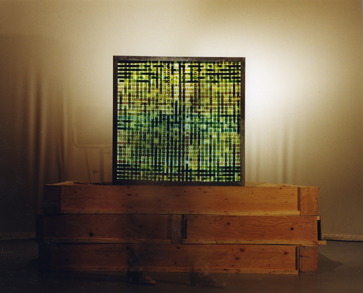 Coming Soon.  16mm Celluloid Film, Fluorescent Lights, Glass, Custom Lightbox. 48x48  Richard Kerr. 1998.  *Collected University of Lethbridge Art Gallery.