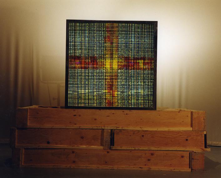 Las Vegas. 16mm Celluloid Film, Fluorescent Lights, Glass, Custom Lightbox. 48x48 Richard Kerr. 1998.  *Collected by Mackenzie Art Gallery.